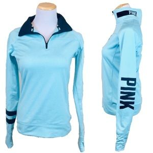 Victorias Secret PINK 1/4 Zip Blue Pullover Top